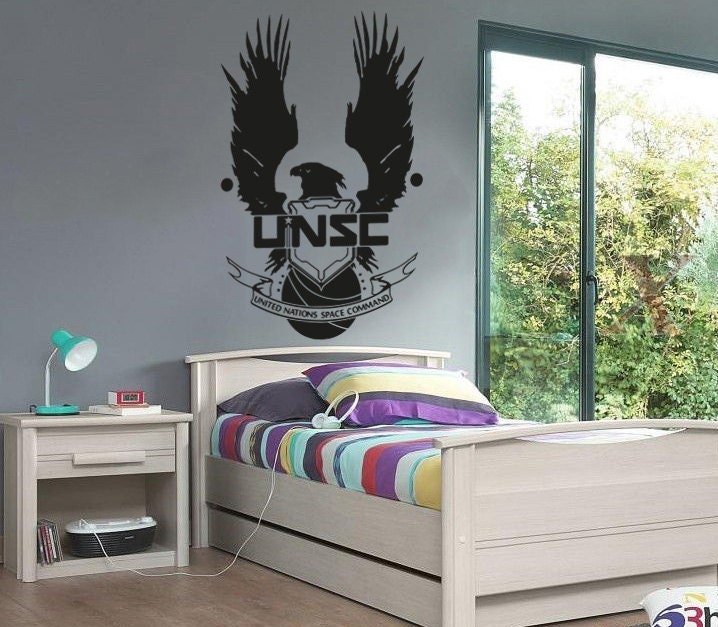 new halo unsc logo wall decal wall stickers large 93 cm x 58