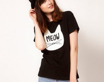 MEAOW KITTY T-shirt , Love Cats ,Kitty  t-shirt ,Meow T-shirt , BNWT