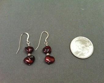 Burgundy Keshi Pearl Drop Earrings