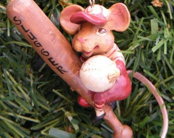 "KSA ""Hole In The Wall Gang"" Slugger Baseball Mouse Christmas Ornament"