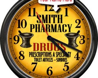 Pharmacy Pharmacist Vintage Retro Drug Store RX  Personallized Sign Wall Clock