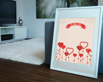 His and Hers Love Print - Perfect Wedding, Anniversary or Valentines Day gift to that Special Someone in your life!