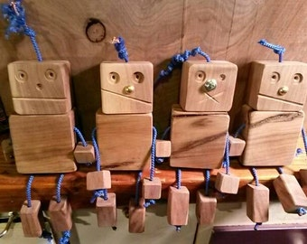 Handmade Wooden Robots Made to Order.