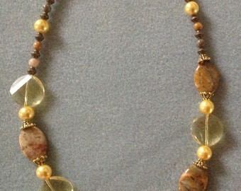 Yellow crystal & gemstone necklace