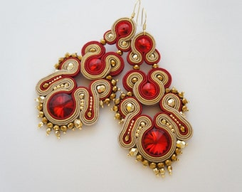 Soutache earrings, sutasz kolczyki Swarovski, handmade