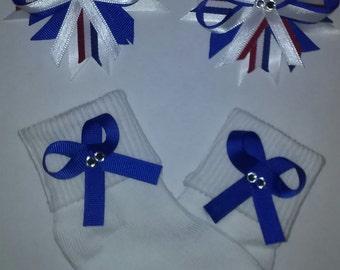 Patriotic Spike Flower Barrettes and Sock Set