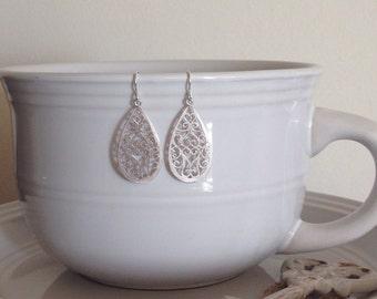 Oriental filigree teardrop earrings