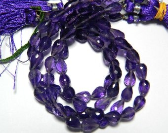 Amethyst Micro Faceted Tear Drop Beads, Faceted Gemstones, 6.5x8.5mm Each, Straight Drilled, 22 Pieces Approx 8 inches Full Strand