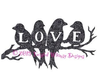 Zentangle love birds on branch
