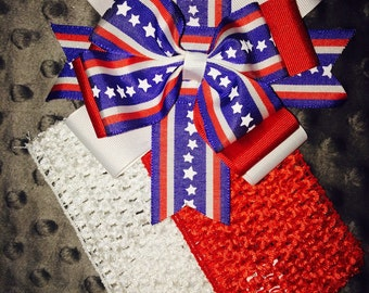All American Girl Bow with infant headbands one red one white.