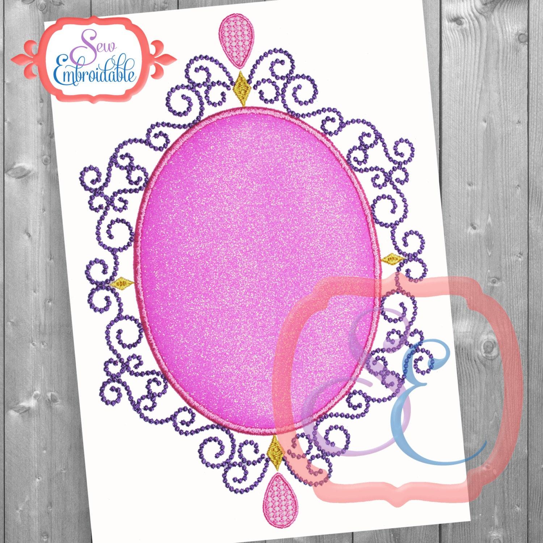 Magic mirror frame applique design for machine embroidery