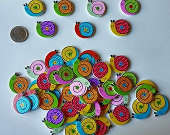 Wooden Snail Buttons x 10
