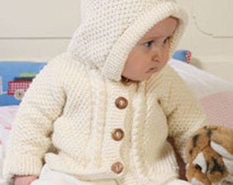 Knitted baby jacket, hooded baby sweater, knit baby cardigan, newborn jacket with hood