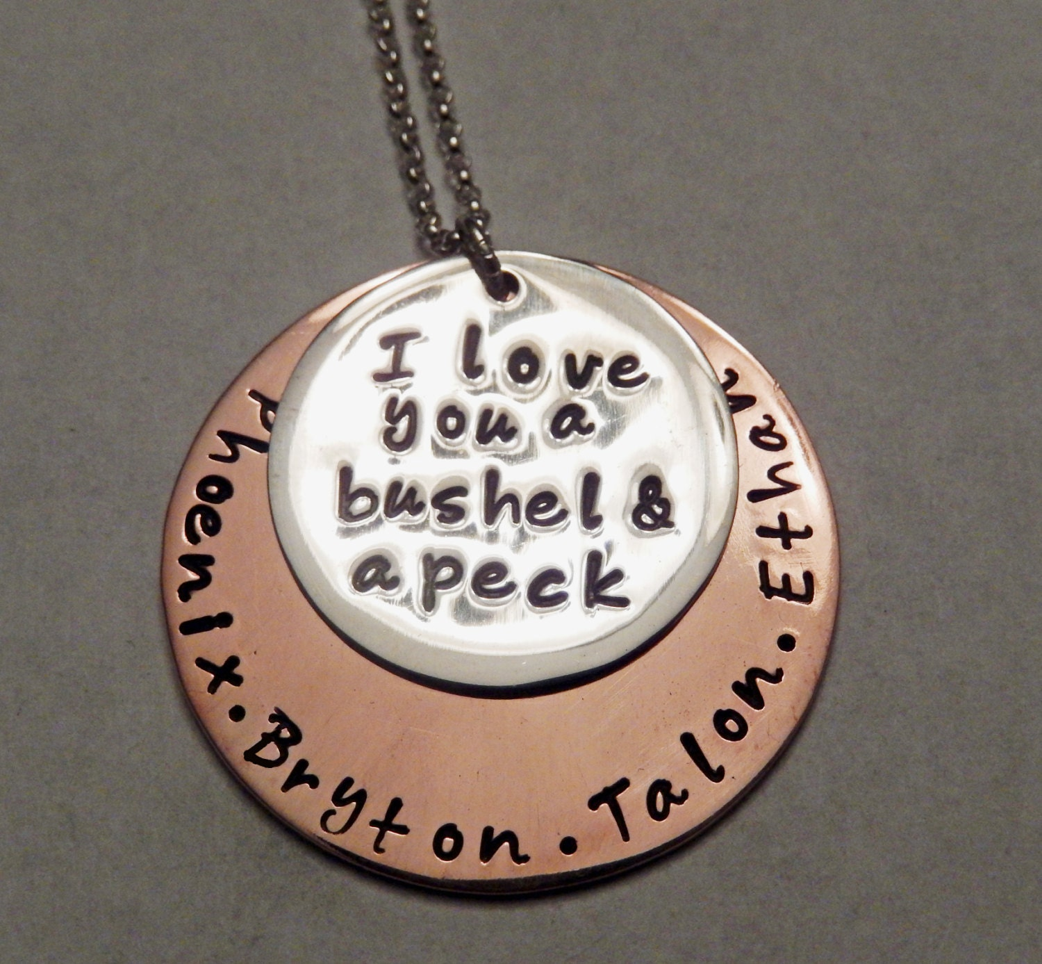 I Love You A Bushel And A Peck Necklace: Stamped I Love You A Bushel And A Peck Necklace Mommy