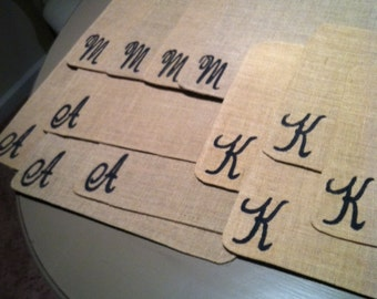 Customized monogrammed burlap placemats, set of 4
