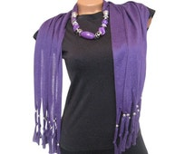 Fashion Jewelry Scarf With Crystal Peacock Pendant Purple pendant scarf Scarf