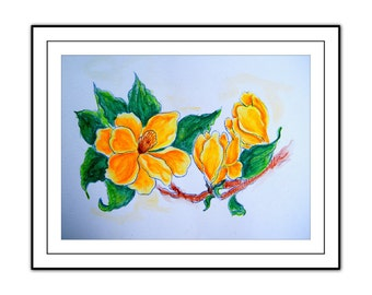 Original watercolor and pencil painting. Flower painting. Yellow, orange, pink, green, art. Home nursery bedroom wall decor.