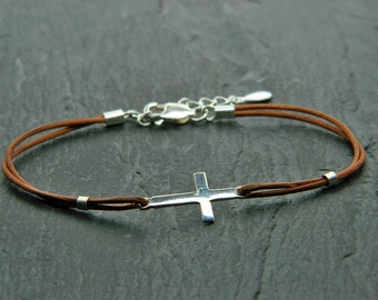 Leather and sterling silver bracelet. Beaded cross. Cross bracelet. Sideways cross bracelet. Frienship bracelet. Leather bracelet.L010