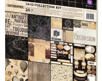 "Prima 12""x12"" Collection Kit : Cartographer 990190 - Double Sided Cardstock Papers Vintage Style Wedding Theme"