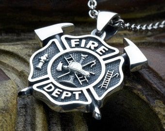 Small Firefighter Fire Department Maltese Cross with Crossed Axes Sterling Silver Necklace Pendant