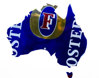 Fosters Australia Hand Cut Beer Can Art in a Float Frame- Perfect for your Bar or Man Cave!