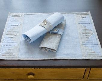 Classic Light Blue Linen Patchwork Placemat with Silver Light Blue Paisley Border