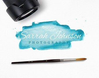 Instant Download Logo feat. Watercolor Blue Splash and Feather