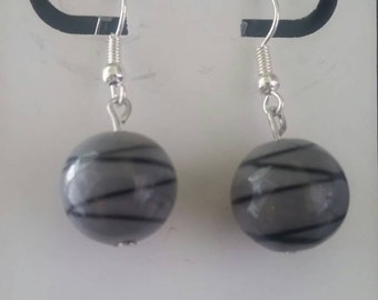 Black and grey glass earrings