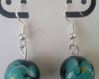 Black and blue floral glass earrings