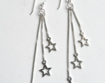 sterling silver drop earrings, star earrings