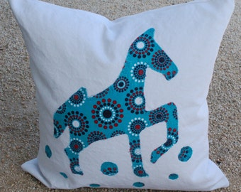 ON SALE - Decorative Accent Throw Pillow Cover - Graphic Teal Horse