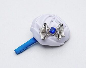 blue wedding boutonniere