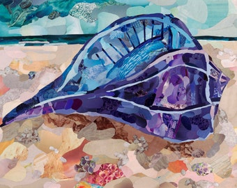 Lightning Whelk Fine Art Print, Magazine Collage, Upcycle, Shells, Beach, Sanibel, Ocean, Seashells, Nature, 8x12, 10x15, 16x24, 24x36