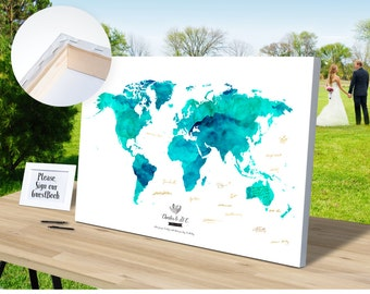 Atlas guest book etsy wedding guest book watercolor canvas wrap world map add quote date wedding decor gumiabroncs Choice Image