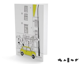 A yellow  genuine Mini in Central London. London Lines greeting cards. LLC12