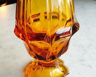 Vintage Viking Glass Vase / Viking Glass Company /Vintage Amber Glass Vase / Mid Century Glass Vase