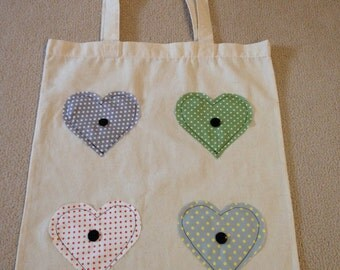 Cotton Canvas Shoulder Bag - beautifully decorated with applique designs