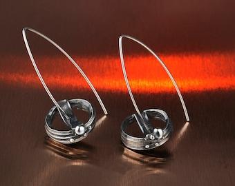 Silver earrings KATA106A,Sterling Silver Earrings,Oxidized Silver Earrings,Handmade Silver Earrings, Silver Jewelry,Hoop Earrings