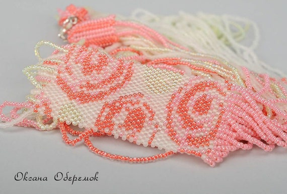 Long Beaded Necklace OOAK rose tribal jewelry gift mom FREE SHIPPING