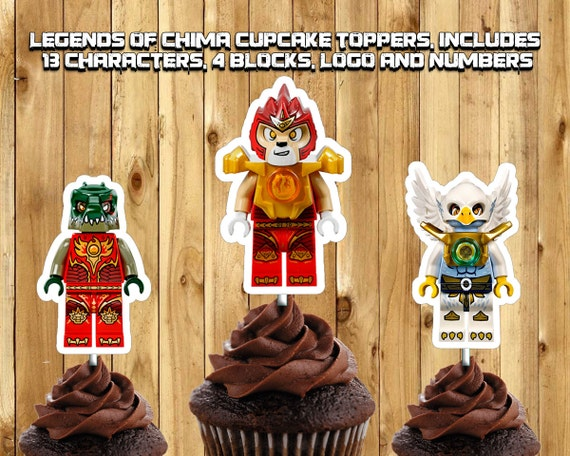 Printable Legends of Chima Cupcake Toppers -Download Customize Print Legends of Chima Cake Toppers Lego Legends of Chima Birthday Decoration