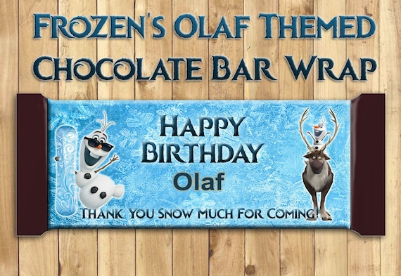 Olaf Candy Bar Wrappers - Download Customize Print - Frozen Candy Bar Wrappers Olaf Chocolate Bar Wrappers Frozen Chocolate Bar Wraps 1.5 oz