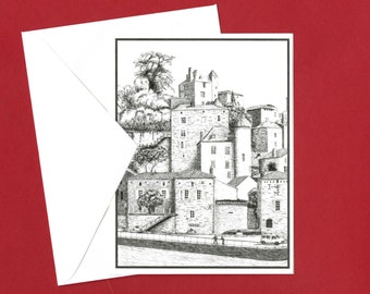 Historic French Village Greeting Card