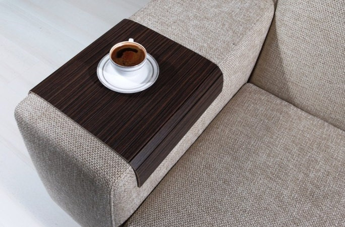 Sofa Tray Table Zebrano Tree Armrest TableSofa by AnatolianWoods