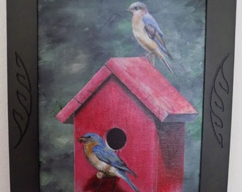 Blue Birds in House acrylic painting