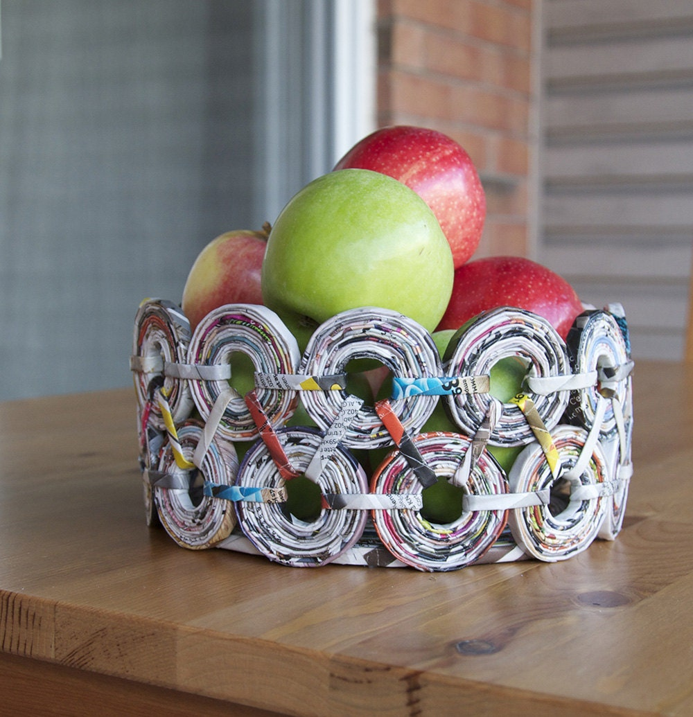Handmade Basket Paper : Handmade fruit bowl recycled paper art table decor basket