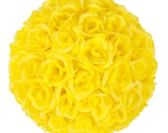 "5PCS 9.84""/25cm Super Satin Rose Flower Kissing Ball Wedding Party Decor Yellow"