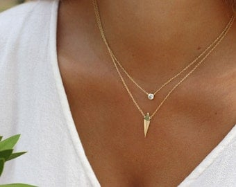 PEAK GOLD necklace - gold necklace - arrow necklace - minimalist necklace