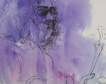 Print,Jerry Garcia,Jerry Garcia Art,Jerry Garcia Painting,Jerry Garcia Watercolor,Jerry Garcia Ink Drawing,Grateful Dead Art,Grateful Dead
