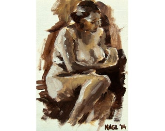 Autumn Thoughts (October 2014), original oil painting of female model life drawing