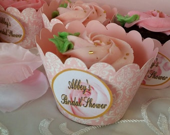 12 Peronalized Cupcake wrappers bridal shower